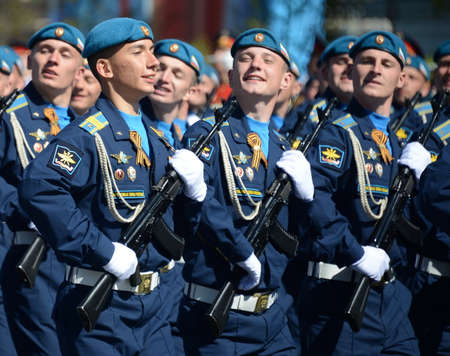 cadet blue: Cadets at the air force Academy named after Professor NE Zhukovsky and YA Gagarin at the dress rehearsal of the parade on the square in honor of Victory Day.