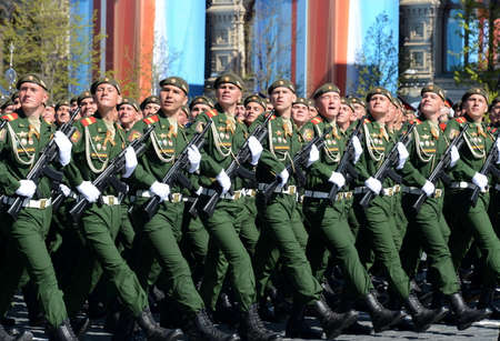 Soldiers of the 2nd Guards motorized rifle Taman division at the dress rehearsal of the parade on the square in honor of Victory Day.