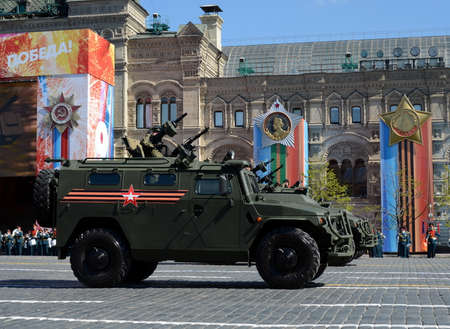 Multi-purpose armored cars Tiger-M at the dress rehearsal of parade on red square in honor of Victory Day.