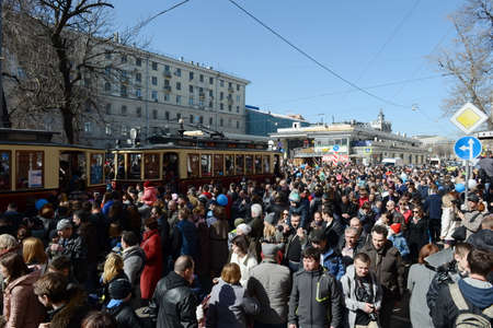 The parade of old trams on Chistoprudny Boulevard of Moscow Editorial