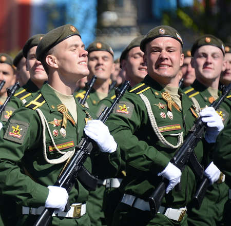 a rehearsal: Cadets of the military Academy RVSN named after Peter the Great at the dress rehearsal of parade on the square in honor of Victory Day.