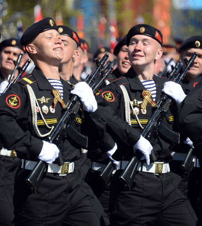berets: Marines 336-th separate guards Bialystok brigade of the Baltic fleet at the dress rehearsal of the parade on the square in honor of Victory Day.
