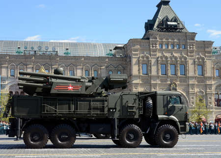 Pantsir-S1 (SA-22 Greyhound) is a combined short to medium range surface-to-air missile and anti-aircraft artillery weapon system on rehearsal of parade on Red square.