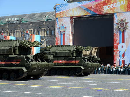 a rehearsal: Rehearsal celebration of the 72nd anniversary of the Victory Day (WWII) on Red Square. The All-weather tactical air defense missile system Tor (SA-15 Gauntlet)