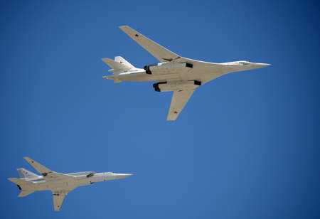 Supersonic strategic bombers of long-range aviation Tu-160 White Swan .Rehearsal of parade in honor of the 70th anniversary of the Victory, Editorial