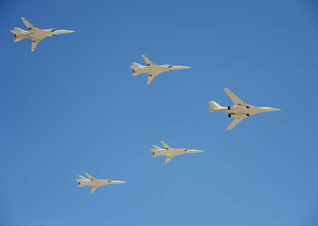 a rehearsal: Supersonic strategic bombers of long-range aviation Tu-160 White Swan .Rehearsal of parade in honor of the 72nd anniversary of the Victory, Editorial