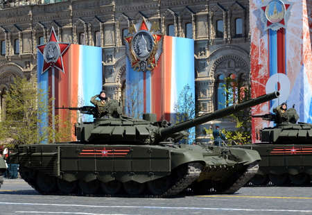 Rehearsal celebration of the 72nd anniversary of the Victory Day (WWII). The T-72B3 is a third-generation Russian main battle tank