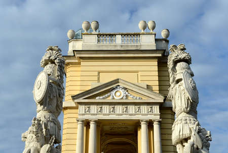 schonbrunn palace: Gloriette in Schonbrunn Palace Garden in Vienna, Austria is built in 1775 as a temple of renown