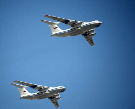 Military transport aircraft Il-76 MD during a rehearsal of the parade dedicated to the Victory Day.