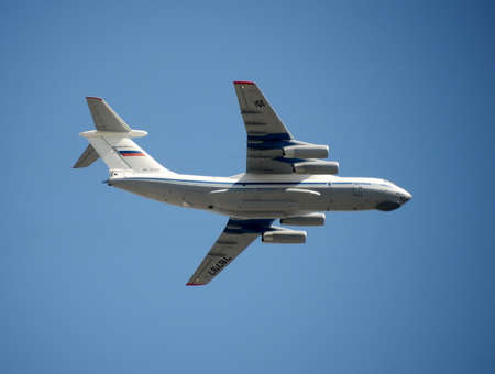 md: Military transport aircraft Il-76 MD during a rehearsal of the parade dedicated to the Victory Day.