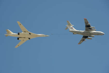 rehearsal: Simulated mid-air refueling aircraft Il-78 and Tu-160 during a rehearsal of the parade dedicated to the 72nd anniversary of the Victory in the Great Patriotic War.