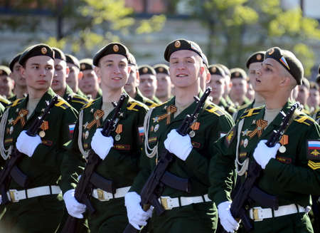 Cadets of the military Academy RVSN named after Peter the Great at the dress rehearsal of parade on the square in honor of Victory Day.