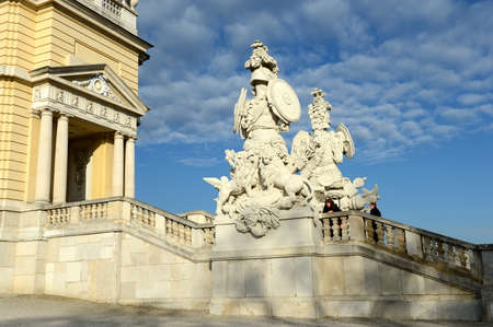 Gloriette in Schonbrunn Palace Garden in Vienna, Austria is built in 1775 as a temple of renown.
