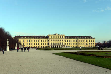 Schonbrunn Palace in Vienna, Austria. Schonbrunn Palace is one of the most popular tourist attractions in Vienna. Editorial