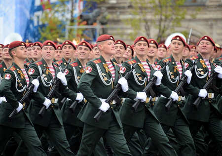 berets: The soldiers of his division. Dzerzhinsky of the national guard during the parade in the square in honor of Victory Day.