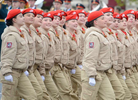 Girls yunarmeytsy the all-Russian Patriotic movement Warmia in red square during the parade dedicated to the 72nd anniversary of the Victory in the Great Patriotic war. Editorial