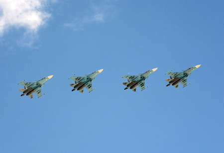 Multirole fighter-bombers Su-34. Rehearsal of parade in honor of the 72nd anniversary of the Victory.