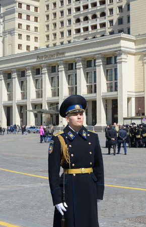 regiment: Soldiers of the presidential regiment during the rehearsal of the parade at the Manege square. Editorial