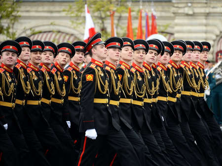 ministry: The pupils of the Tver (Kalinin) Suvorov military school during the parade on the square in honor of Victory Day.