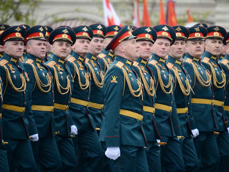 Officers of the Combined Arms of the Army of the Armed Forces of the Russian Federation during the military parade on the square in honor of Victory Day. Editorial