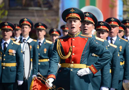a rehearsal: Military musicians at the rehearsal of the parade dedicated to the 72nd anniversary of the Victory in the great Patriotic war. Editorial