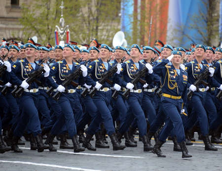 Cadets of the Ryazan airborne command school. VF Margelov (RVVDKU) during a parade on the square in honor of Victory Day. Editorial