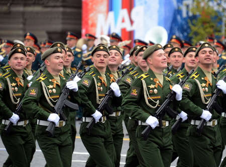 Cadets of the Military Academy RVSN named after Peter the Great in the course of the parade on the square in honor of Victory Day. Editorial