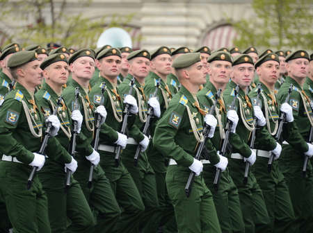Cadets Military-space Academy named after AF Mozhaisky during the parade dedicated to the Victory Day.