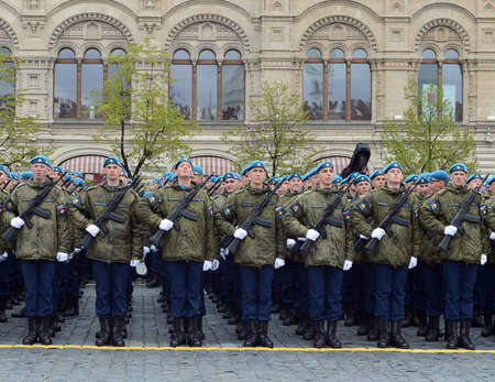 Cadets at the air force Academy named after Professor NE Zhukovsky and YA Gagarin during the parade on the square