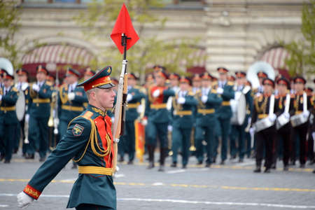 Linear soldiers during a parade dedicated to the Victory in the Great Patriotic War on the red square. Editorial