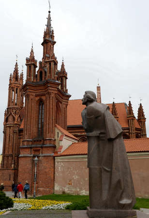 The Adam Mickiewicz monument and the Church of St. Anne in Vilnius.