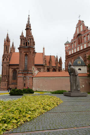 mickiewicz: The Adam Mickiewicz monument and the Church of St. Anne in Vilnius.