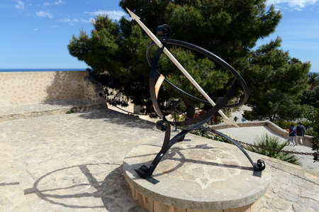 An ancient sundial in the fortress of Santa Barbara.