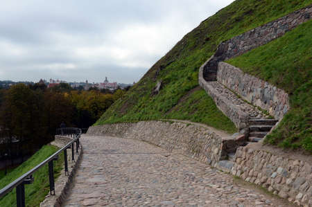 Serpentine road to the mountain of Gediminas in Vilnius. Editorial