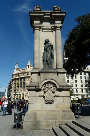 Sculpture, Emporion statue, Plaça de Catalunya, Barcelona, ??Catalonia, Spain