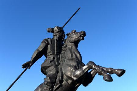 Monument to Yakov Baklanov, the Russian general, the hero of the Caucasian War on the embankment of the Gulf of Tsimlyansk Sea in Volgodonsk.
