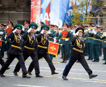 The head of the Moscow Frontier Institute of the FSB of Russia The General Valery Kozlov during the parade on the square in honor of Victory Day.