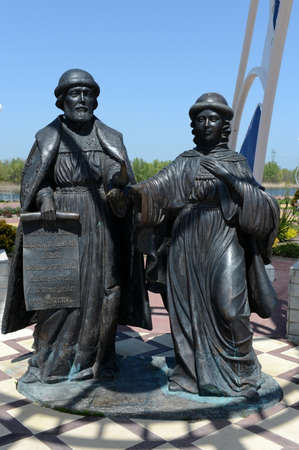 Monument to St.Petersburg Peter and Fevronia on the embankment of the Romanovskaya village in the Rostov region.