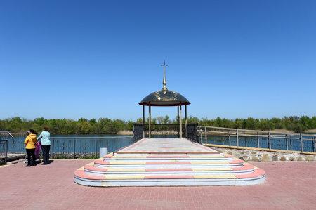 Embankment of the Don River in the village of Romanovskaya, Rostov Region. Editorial