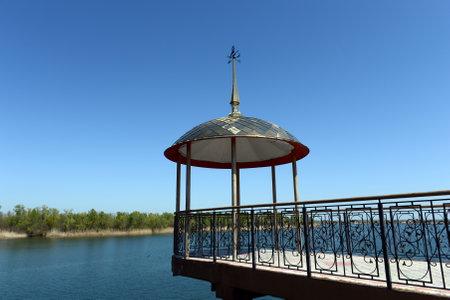 dont walk: Embankment of the Don River in the village of Romanovskaya, Rostov Region. Editorial