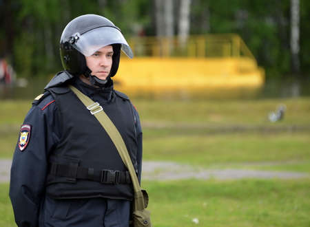 A policeman in cordon during the exercises.