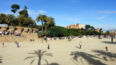 People in the Park Güell of Barcelona. Editorial