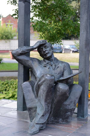 chagall: Monument to Mark Chagall (based on the picture of Marc Chagall La Promenade) in Vitebsk.