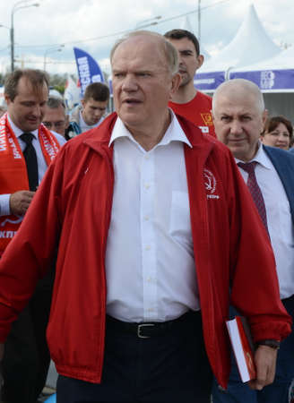 Communist Party leader Gennady Zyuganov at the press festival in Moscow.