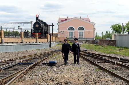Police patrol the territory of the railway station in Bryansk. Editorial