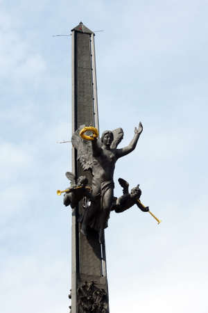 Fragment of the monument to St. George the Victorious on Poklonnaya Hill in Moscow. Editorial