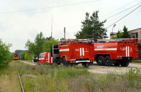 Deployment of fire trucks at the railway. Editorial
