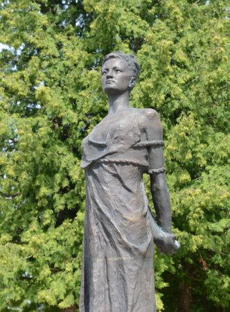 Monument Zoya Kosmodemyanskaya. Soviet partisan and a Hero of the Soviet Union (won posthumously). She one of the most revered heroines of the Soviet Union