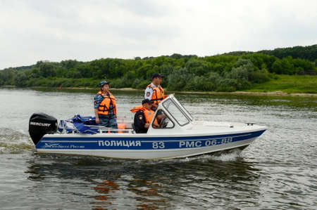 oka: A water police patrol patrols the Oka River.