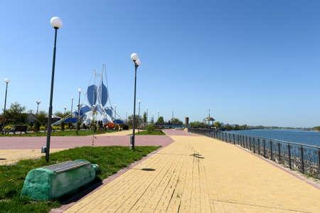 dont walk: Embankment of the Don River in the village of Romanovskaya, Rostov Region. Stock Photo